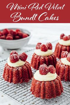 Mini Red Velvet Bundt Cakes-If you love red velvet, this is a must try. Topped with a delicious and fresh they are just the right size and the right amount of sweet. Their small size makes them portable so they are easy to bring to a Mini Desserts, Just Desserts, Desserts Menu, Food Cakes, Cupcake Cakes, Cake Fondant, Red Velvet Bundt Cake, Small Red Velvet Cake Recipe, Bunt Cakes