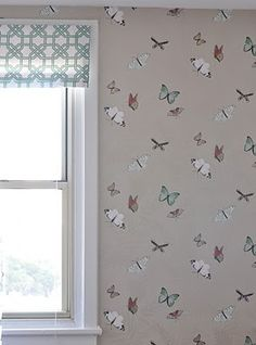 nina campbell butterfly wallpaper. I think this would be gorgeous in a cloakroom.