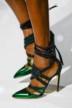 Sandali lace up verde metallizzato Antonio Berardi