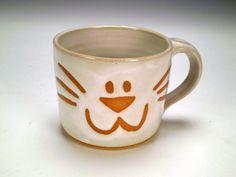 Cat Mug White Kitten Mug Handmade Stoneware by spinningstarstudio, $18.00