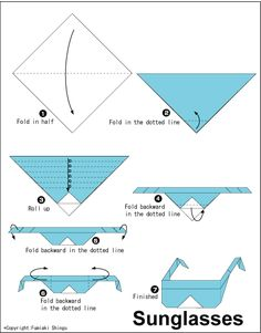 Origami sunglasses: totally adorable, if not totally practical. Origami Paper Folding, Kids Origami, Origami Easy, Easy Paper Crafts, Paper Crafts Origami, Diy Paper, Origami Instructions, Origami Tutorial, Dibujo