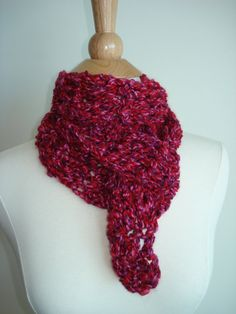 Small Handmade Classic Crochet Scarf Berry Mix by Belisse on Etsy, $15.00