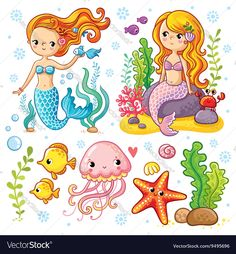 Vector set on the marine theme with mermaids and sea animals made in cartoon style. Mermaid with fish. Mermaid with fish and crab sitting on the rocks. Jellyfish and starfish with seaweed. : compre este vector en Shutterstock y encuentre otras imágenes. Art Drawings For Kids, Drawing For Kids, Cute Drawings, Art For Kids, Mermaid Cartoon, Mermaid Art, Cute Mermaid, Mermaid Clipart, Cartoon Styles
