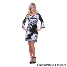 White Mark Women's 'Revolution' Printed Bell Sleeve Dress   Overstock.com Shopping - Top Rated Casual Dresses