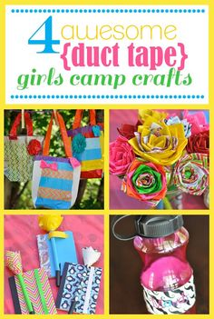 Duct tape crafts for girls.  Bags and flowers. So cool.