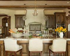 Kitchen Design, Mesmerizing Luxury Kitchen Designs With Light Brown Luxury Kitchen Island With Beige Granite Countertops Also Elegant Wooden...