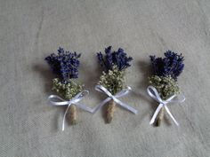 Rustic dried lavender and gip boutonnieres set  by FlowerDecoupage