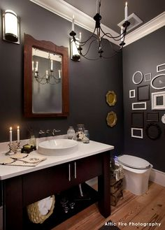Powder Room Paint Colors Walls: Flint, AF-560 Trim: Steam, AF-15 Ceiling: Dolphin, AF-715