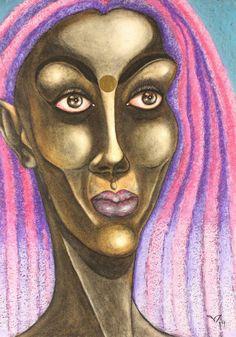 Pink Purple Hair, Female Portrait, Woman Portrait, Original Paintings, Original Art, Abstract Portrait, Painting Abstract, Painting Process, Woman Painting