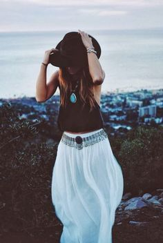 Boho Style white gauzy maxi skirt with modern hippie turquoise necklace. FOLLOW> https://www.pinterest.com/happygolicky/the-best-boho-chic-fashion-bohemian-jewelry-gypsy-/< for the BEST 2015 Bohemian fashion trends.