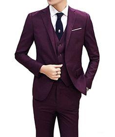 0dbfc7d073 Men's 3-Piece Set Gentleman ClassicalSlim Fit Style Suit Blazer Jacket  Wedding Dress Costumes Formal: Amazon.co.uk: Clothing