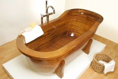 Wooden Bathtub.  Just might have to remake a bathroom just to use a wooden bathtu
