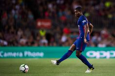 Nelson Semedo of FC Barcelona plays the ball during the Joan Gamper Trophy match between FC Barcelona and Chapecoense at Camp Nou stadium on August 7, 2017 in Barcelona.