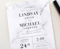 Modern Marble Wedding Invitation Set  Marble Wedding by TiedandTwo