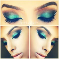 Green With Lime green double eyeliner