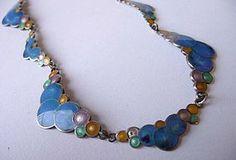 Sterling Silver and Cloisonne Enamel Bubble Necklace