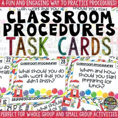 Classroom Procedures Task Cards are a fun way to practice all the classroom procedures students need to know about to help your year run more smoothly. Use these 36 Classroom Procedure Task cards in many different ways to cover all the classroom procedures in the beginning of the school year.