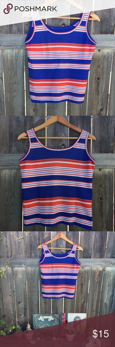 """VTG 70s red/blue/white striped tank SZ M/L 70s striped tank- no size tag but based on measurements M/L armpit to armpit 19"""" front length 18"""" - get this now!! Vintage Tops Tank Tops"""