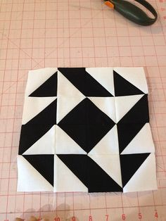 knit 'n lit: Modern Half-Square Triangle Quilt-a-Long Block 55