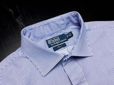 RALPH LAUREN Regent Mens 17.5 36/37 Blue White Striped Long Sleeve Spread Shirt | Men's Fashion | Menswear | Moda Masculina | Shop at designerclothingfans.com