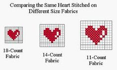 Comparing the same heart stiched on different sized fabrics (!!!)