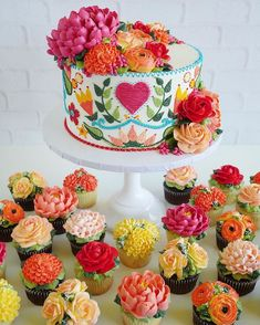 Pretty Picture of Cupcake Cakes For Birthdays . Cupcake Cakes For Birthdays Cupcakes Pull Apart Cake Flower Power Buttercream Icing Mexican Birthday Parties, Mexican Fiesta Party, Fiesta Theme Party, Mexican Themed Party Decorations, Pretty Cakes, Beautiful Cakes, Cute Cakes, Amazing Cakes, Savoury Cake