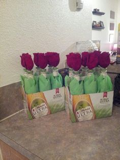Make two six-packs look like a dozen roses for Valentine's Day!  (And other good v-day gifts for the beer aficionado.)