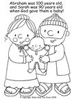 Printable bible coloring book pages for Sunday school. Picture to color of Abraham, Sarah and baby Isaac.