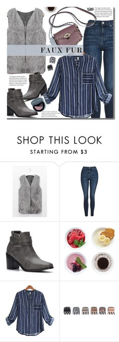 """""""Yoins Casual: Faux Fur Vest"""" by beebeely-look ❤ liked on Polyvore featuring Topshop, Zoku, Forever 21, Bobbi Brown Cosmetics, casual, stripes, fauxfur, fauxfurcoat and yoinscollection"""