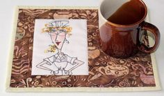 Quilted Mug Rug  Snack Mat  Nifty Nurses Mug by RedNeedleQuilts