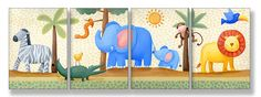 The Kids Room by Stupell Zebra, Crocodile, Elephant, Lion in the Jungle 4-Pc. Rectangle Wall Plaque Set ** Learn more by visiting the image link. (This is an affiliate link) #HomeDecoration