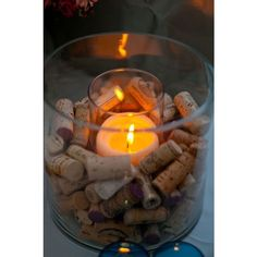 wine cork candle holder- love this! But I would write dates and occasions on all the corks Wine Cork Candle, Candle Jars, Candle Centerpieces, Candle Holders, Wine Candles, Wine Bottle Centerpieces, Flameless Candles, Floating Candles, Centerpiece Ideas