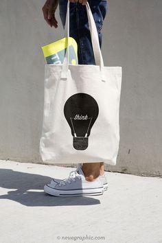 Think Graphic Tote Bag van NeueGraphic op Etsy