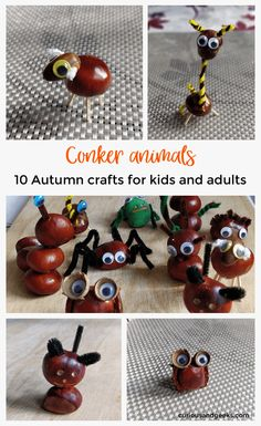 10 DIY conkers animals: Autumn crafts for kids - Curious and Geeks Autumn crafts for kids and adults - Do you have a lot of conkers o chestnuts? Here are some ideas to craft chestnut animals to keep you busy on a rainy afternoon! Harvest Crafts For Kids, Easy Fall Crafts, Animal Crafts For Kids, Fall Crafts For Kids, Kids Crafts, Leaf Crafts, Conkers Craft, Buckeye Crafts, Happy Paintings
