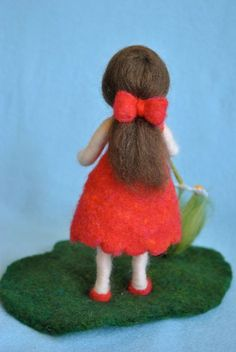 Waldorf inspired needle felted doll The girl in red by MagicWool. Yarn Dolls, Felt Dolls, Cute Crafts, Felt Crafts, Zipper Crafts, Felt Angel, Toddler Flower Girl Dresses, Animal Sewing Patterns, Felted Wool Crafts