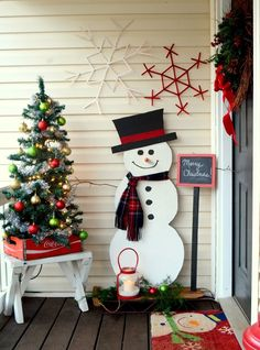Beautiful Christmas Entryway Decoration Ideas – The Best DIY Outdoor Christmas Decor Christmas Entryway, Christmas Porch, Noel Christmas, Christmas Ideas, Modern Christmas, Christmas Images, Christmas 2019, Holiday Ideas, Wood Snowman