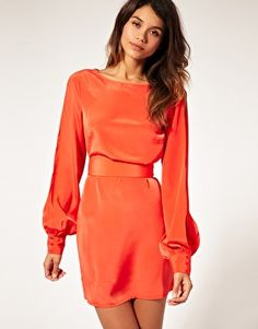 ASOS slit sleeve dress with cut out back in orange (could NEVER wear this but I love love love it)