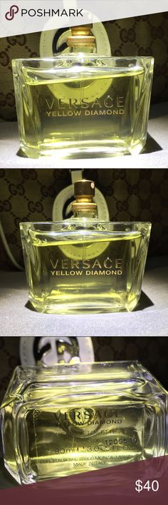 VERSACE YELLOW DIAMOND 💎💯% AUTHENTIC💎 Versace🎶 Versace🎶Versace🎶Versace. 3/4 full, this perfume smells so good but I've had it for awhile and I've found others that I like better. It is Authentic but missing the cap. Has been lingering on my vanity, so it's time for it to find a new home. 3.0 fl oz 💎Full Sized bottle.💎 Versace Makeup