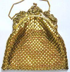 Vintage Whiting & Davis Gold Mesh Purse - Ornate Victorian Face & Floral Frame #WhitingandDavis #SpecialOccasion