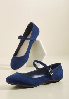 Classy in a Flash Flat in Navy. Bring new life to time-tested looks with these faux-suede flats! #blue #wedding #modcloth