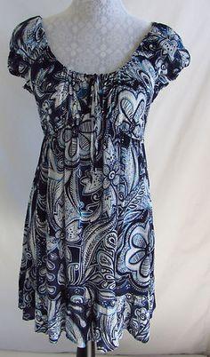BILA Crinkle Floral Paisley Print Hippie Boho Black Blue White M 8 Dress Rayon $29.99
