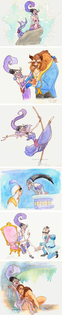 Yzma is the Best Princess! Yzma (Emperor's New Groove) as Ariel, Belle, Esmeralda, Jasmine, Cinderella and Jane.