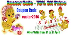 """EASTER SALE! at http://embroideryhorizons.com/ running,Now through Monday April 21 st,2014 at Midnight .Enter """"easter 2014"""" at check out to recieve 70% off your purchase Enjoy"""