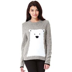 0683a1ff17f Yumi Grey Polar Bear Christmas Jumper (635 MXN) ❤ liked on Polyvore  featuring tops