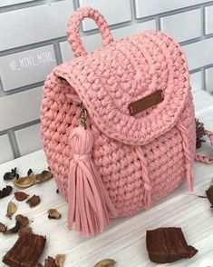 "New Cheap Bags. The location where building and construction meets style, beaded crochet is the act of using beads to decorate crocheted products. ""Crochet"" is derived fro Crochet Handbags, Crochet Purses, Crochet Bags, Crochet Backpack, Crochet Diy, Knitted Bags, Crochet Accessories, Beautiful Crochet, Handmade Bags"