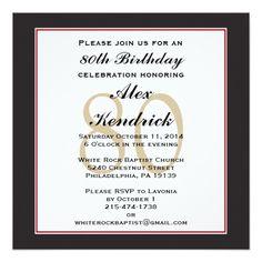 """80th Birthday Party Square Invitation 5.25"""" Square Invitation Card"""