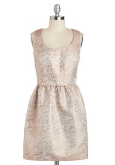 Good as Golden Dress - Gold, Solid, Winter, Short, Pockets, Party, Fit & Flare, Tank top (2 thick straps), Scoop, Cocktail, Prom