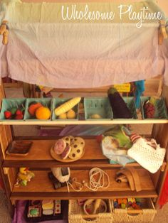 Market Side of the Playstand by wholesome playtime a great example of displaying materials to inspire ideas