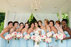 baby blue bridesmaid dresses | Katharine Birkbeck #wedding