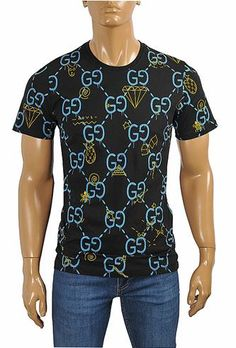 GUCCI cotton T-shirt with GG print in navy blue Designer Clothes For Men, Men Clothes, Discount Designer Clothes, Polo T Shirts, Boys Shirts, Dress Logo, Swag Outfits Men, Adidas Outfit, Versace Men